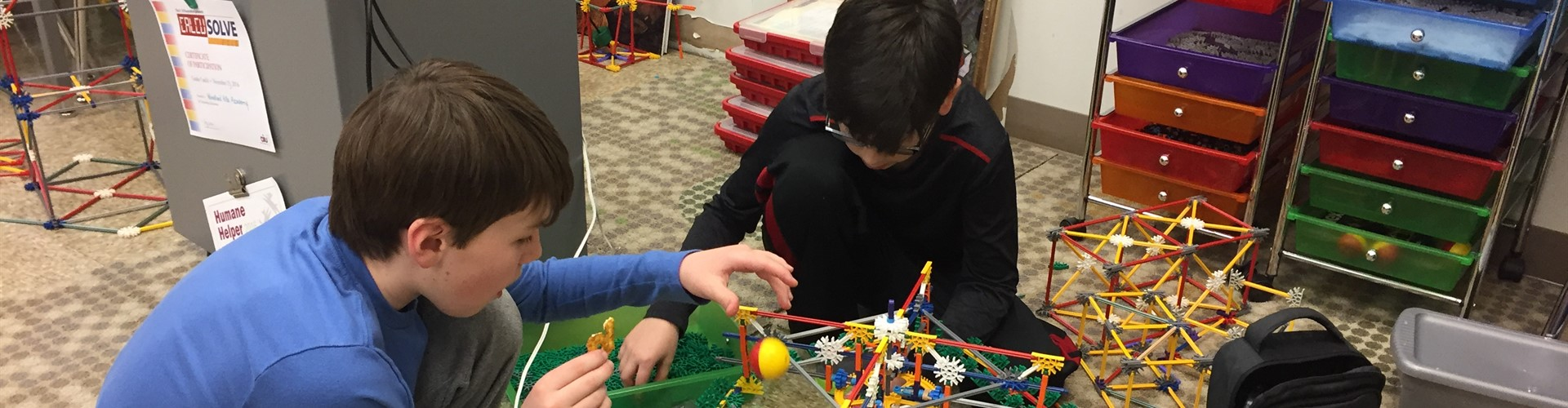 Gifted students prepare for K'Nex competition.