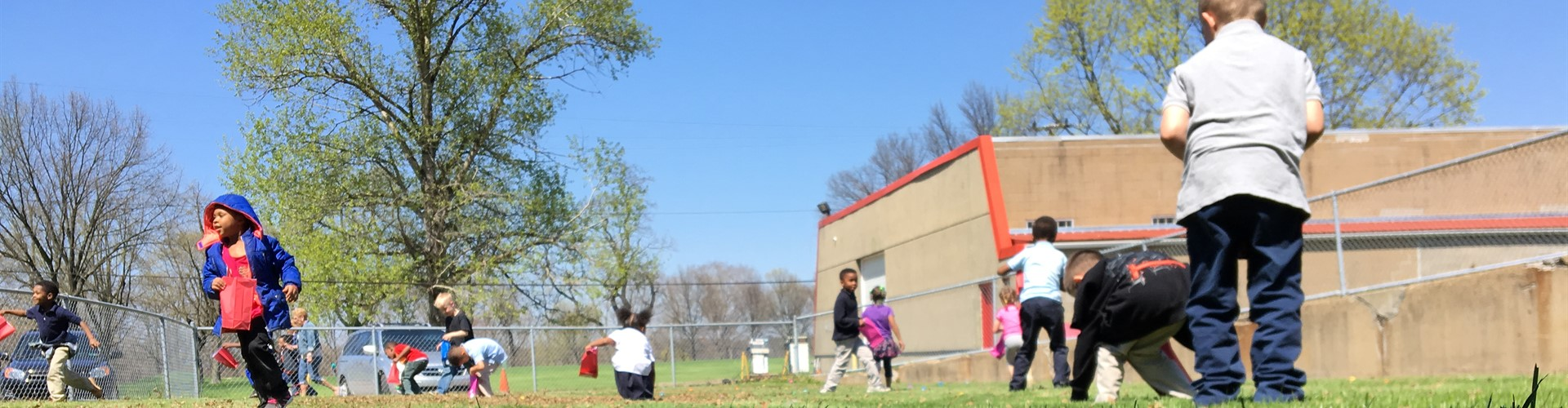 Wilkins Primary kindergarteners participate in an Easter Egg hunt